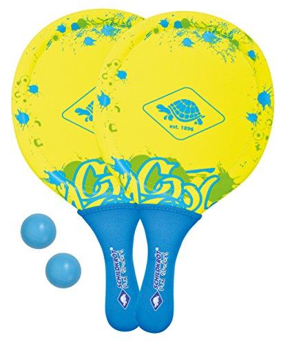 Schildkröt Funsports Juego de Tenis de Playa de Neopreno, 2 Raquetas, 2 Pelotas, en un Bolsillo de Malla, Amarillo, 970230