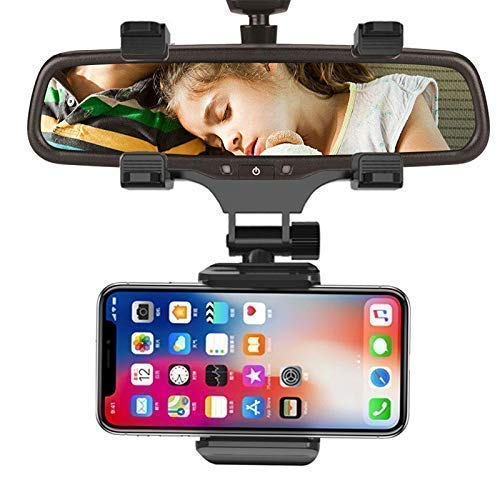 CQLEK® Posh Mobile Phone Holder for Car Rear View Mirror Generation Car Model Anti Shake Fall Prevention | Full Rotation | Anti-Vibration Pads Stand | Adjustable Car Mount Upto 6.5 inch Mobiles