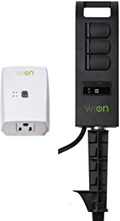 WiOn 50063 Smart Plug-In Indoor and Outdoor Wi-Fi Switch and Yard Stake Bundle, 1 Grounded Outlet and 3 Grounded Outlets