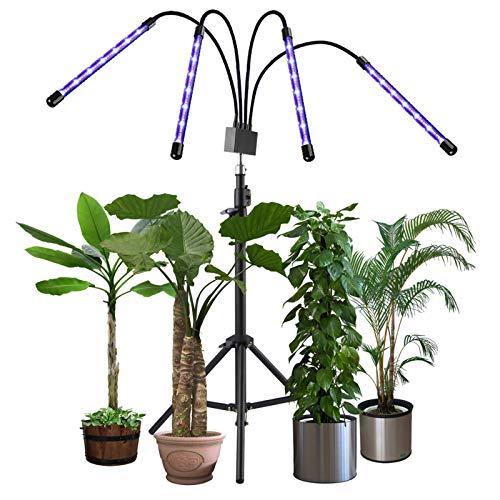 JLDNC Lámpara de Plantas, 40W Lámpara LED Cultivo con 3/9/12h Interruptor Temporizador Auto 4 Cabezales Grow Light 10 Brillo Lámpara de Crecimiento Cuello de Cisne Flexible para plántulas,M