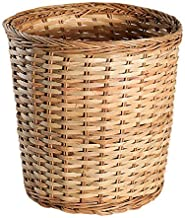 Rattan No Cover Trash Can, Rubbish Recycling Wastebasket Hand Made Storage Basket Container Suitable for Bedroom Living Ro...
