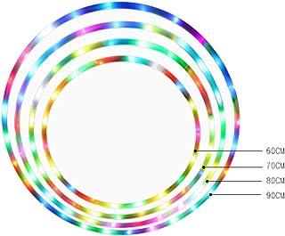 LED Dance & Fitness Glow Luz Ponderada Aros de Hoola para Adultos y Niños, Luz LED Cambiante de Luz Estroboscópica, Diseño Desmontable de 8 Secciones