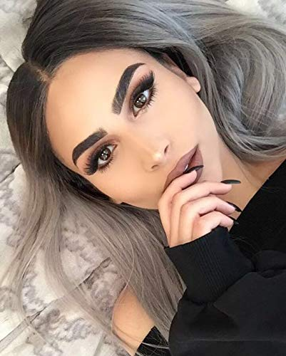 Fennell Short Bob Grey Ombre Synthetic Heat Resistant Fiber Hair Wig for Women Natural Looking 2 Tone Ombre Color Straight Bob None Lace Full Machine Made Synthetic Wigs (Grey Ombre)