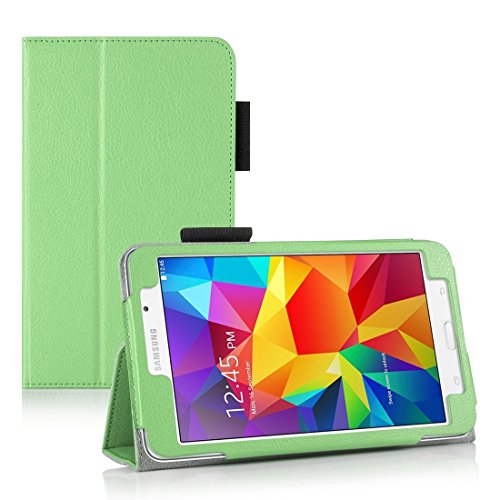 Invero Samsung Galaxy Tab 4 7.0 Inch SM T230 T231 Slim Multi-Function Leather Case Cover with Integrated Typing Stand, Magnetic Closure Wake/Sleep Function - Green