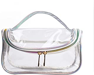Lurrose Transparent Makeup Bag Travel Toiletry Bag Transparent Through Organizer Makeup Pouch with Zipper and Handle for Women Ladies (S)