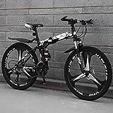 ZEIYUQI All Terrain Mountain Bike 26' Red 27 Speed Bike Für Männer Und Frauen Faltbare Doppel-Suspension-Gebirgsfahrrad,Weiß,27 * 24'*3