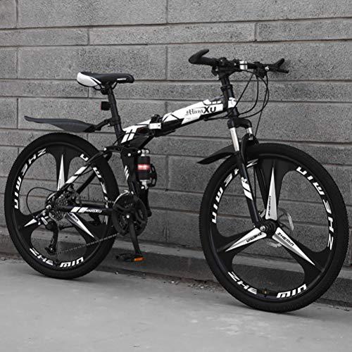 LYhomesick Bicicleta Plegable Mujer 24 Pulgadas Marco De Acero De Alto Carbono Todoterreno Velocidad Variable Montar Al Aire Libre,Blanco,24 * 26''*6