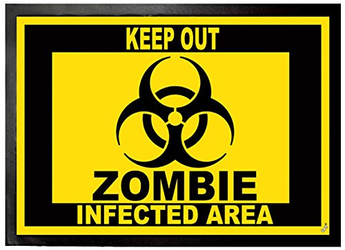 1art1 Zombies - Keep out, Zombie Infected Area Felpudo Alfombra (70 x 50cm)