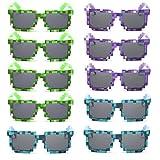 kilofly 10 gafas de sol de 8 bits para jugadores de videojuegos, para adultos y niños, accesorios de fiesta Verde y azul y violeta. talla única