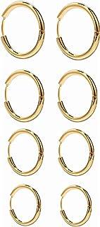 TRJJINUEL 4 Pairs Hypoallergenic Hoop Earrings Set for Men Women Stainless Steel Silver Gold Rose Gold and Black Colors Po...