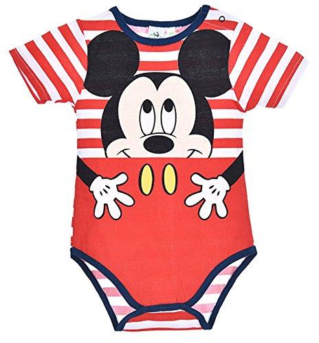 Body rayé bébé garçon manches courtes Mickey Rouge et Marine de 3 à 23mois (12 mois, Rayé blanc/rouge)
