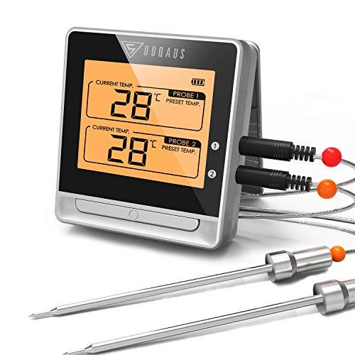 DOQAUS Grillthermometer Bluetooth mit 50m Reichweite, Fleischthermometer mit Großes Display, Magnet Design, Temperaturalarm und Timer-Alarm, für BBQ, Küche, Grill, Ofen, Fleisch (2 Sonden)