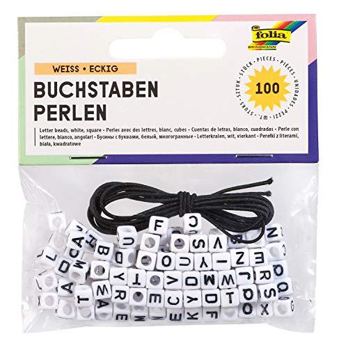 folia 33903 - Eckige Buchstaben Perlen, 100 Stück, weiß, je ca. 6 x 6 mm groß, mit Loch zum Auffädeln, ideal für Ketten, Armbänder und andere Schmuckstücke