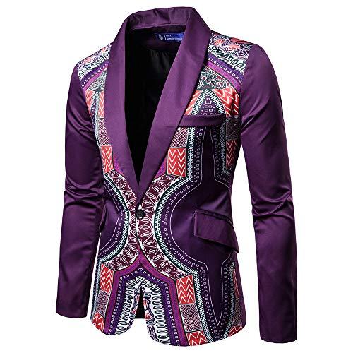 New African Fashion Dashiki Cardigan Men Jacket Long Sleeve Printed Coat Purple
