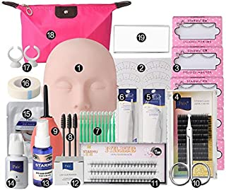 Professional Eyelash Extension Kits,Mannequin Head Training Eyelashes Extensions Practice Cosmetology Esthetician Supplies with Eye Lashes Glue Tweezers Tools sets for Makeup Eye Lashes Practice 19pcs