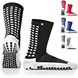 LUX Anti Slip Soccer Socks,Non Slip Football/Basketball/Hockey Sports Grip Pads Socks (Black)