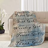AHOOCUSTOM Christian Bible Throw Blanket with Inspirational Thoughts and Spiritual Prayers, Best Religious Healing Gifts for Women & Men, Soft Cozy Fluffy Flannel Blanket ( 40 x 50 Inch Brown Blue )