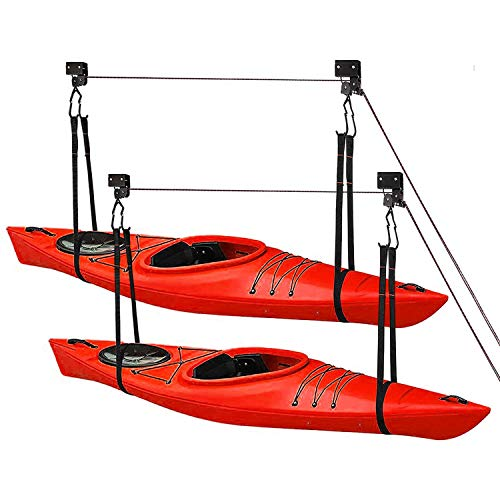 Great Working Tools Kayak Hoist Lift, Hanging 2 Pulley System - 2-Pack Heavy Duty Garage Ceiling Mount 125 Pound Capacity Per Set - Bicycle, Paddleboard, Canoe and Ladder Storage Tool