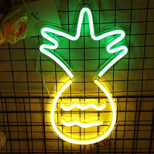 Aoliandatong Neonschild, Neon Lichter Schriftzug Wände Neonschilder Neon Nachtlicht für Kinder Schlafzimmer Geburtstagsfeier Wohnzimmer Hochzeitsfeier Party Bar Dekoration(Ananas)