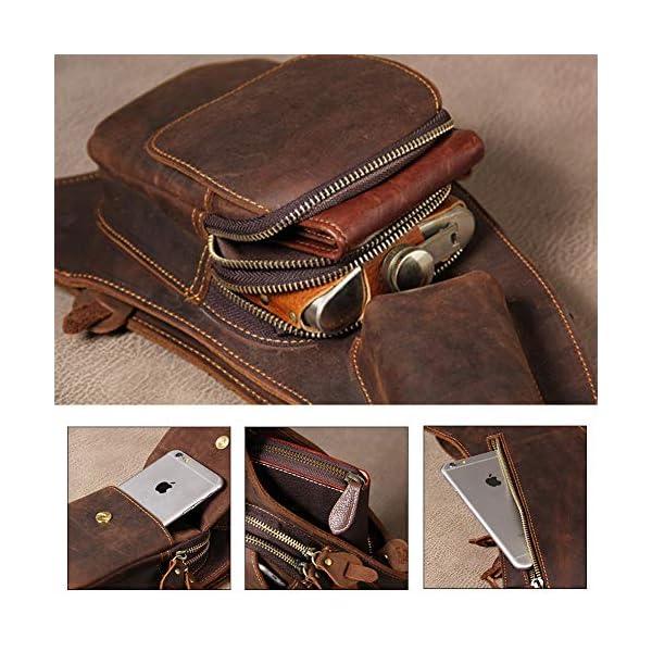 51Lkxz Ir2L. SS600  - Leathario Mochila de Pecho Cruzado Cuero Bolso Hombro Bandolera Piel Vintage Grande para Hombres Casual Escolar Viaje