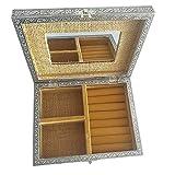 HAB & GUT -BOX031- Joyero con Espejo, Yute Beige Plata 22.5 x 17.5 x 7 cm árbol de la Vida