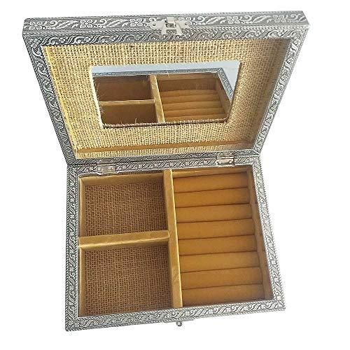 HAB & GUT -BOX031- Schmuckbox mit Spiegel, Jute beige Silber 22.5 x 17.5 x 7 cm Lebensbaum