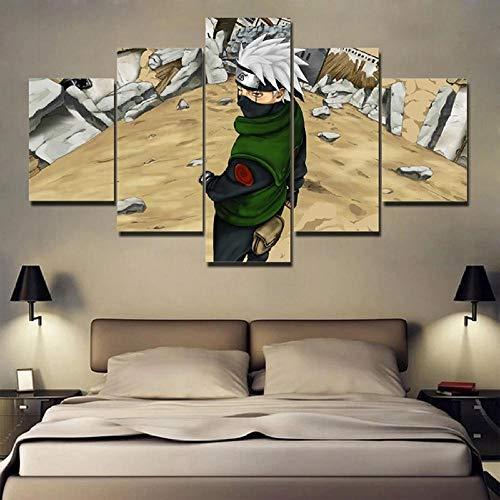 BHJIO Cuadro sobre Lienzo - 5 Piezas Narut - Cuadro De Pintura Póster De Arte Moderno Oficina Sala De Estar O Dormitorio Decoración del Hogar Arte De Pared 80X150Cm