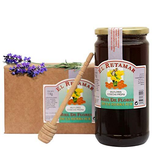 Miel de Abeja 100% Natural Hecha en España + Dispensador de Madera de Regalo. Tarro de 1kg de Miel de Mil Flores. Producción Artesanal sin Aditivos. Comercio de Cercanía