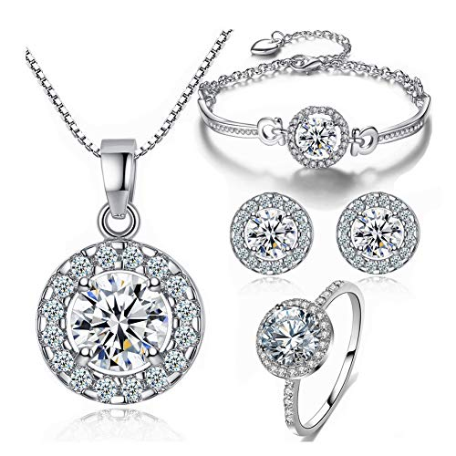 Bridal Austrian Crystal Necklace Earrings Bracelet 7 Size Ring 4pcs Jewelry sets Gifts Fit with Weddding Dress Best Gift for Girlfriend Valentines day
