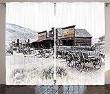 ABAKUHAUS Western Rustikaler Gardine, Alte hölzerne 20s Stadt, Schlafzimmer Kräuselband Vorhang mit Schlaufen und Haken, 280 x 225 cm, Braun Weiß