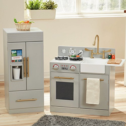 Teamson Kids - TD-12302A Modern Play Kitchen with Ice Maker | Sliver Grey | Pre-K 2 Pieces Kitchen