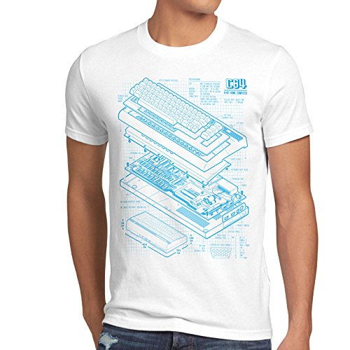 style3 C64 Computadora Cianotipo Camiseta para Hombre T-Shirt Classic Gamer, Talla:L, Color:Blanco