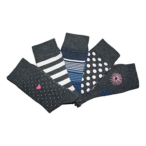 Sympatico 21697 Damen Socken 5er Pack in verschiedenen Designs Allover Stretch, Groesse 39-42, 5x grau/gemustert