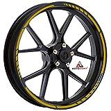 Autodomy Confezione Adesivi Set Completo di Cerchi Strisce per Moto per 2 Ruote da 15' a 19' Pollici Design Sportivo (Oro)
