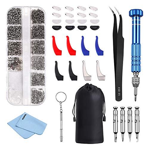 Vastar Brillenschrauben, Komplettes Brillen Reparatur Set, mit Aufbewahrungsbox, Schrauben für Brillen Eignet Sich zur Reparatur von Brillen, Uhren und Anderen Kleinen 3C Elektronikprodukten