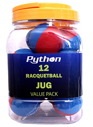 Python RG Multi Colored Racquetballs (Value Pack - 12 Ball Jug/Endorsed by Racquetball Legend Ruben Gonzalez!)(Blue/Red)