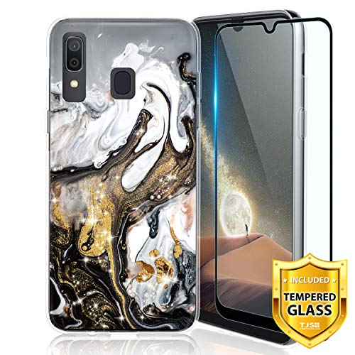 TJS Case for Samsung Galaxy A20/Galaxy A30, with [Full Coverage Tempered Glass Screen Protector] Ultra Thin Slim TPU Matte Color Marble Transparent Clear Soft Skin Protector Phone Cover (Colorful)