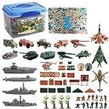 deAO Set Militaire de 55 Accessoires avec Carte, Figurines de Soldats, véhicules Militaires, Avions et Accessoires de Combat – Superbe Jeu pour Les Petit aventuriers et aventurières