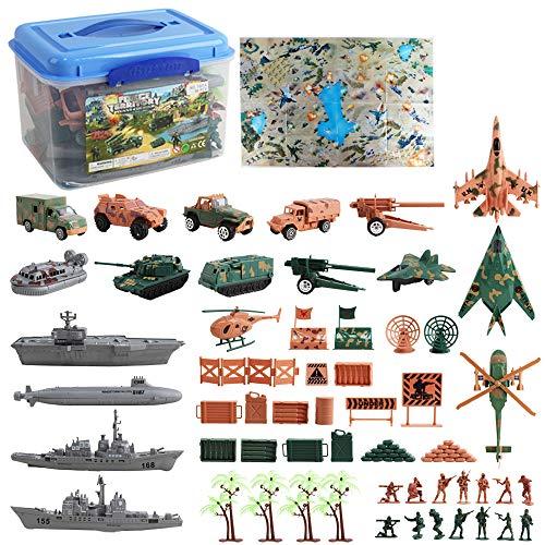 deAO Unidad de Defensa Militar Juego de Soldados y Fuerzas Armadas Conjunto de 56 Piezas Incluye Vehículos, Soldados, Accesorios y Campo de Batalla