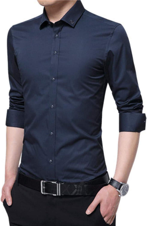 WHFDNSCS Spring Men Shirt Long Sleeve Shirt Solid Embroidery Collar Casual Shirts Slim Fit Man Formal Shirt