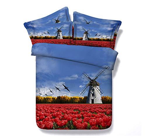 Set De Funda Nórdica Tulipanes de Molino de Viento 3D-trapunta de polialgodón Estampado, Funda Nórdica y Fundas de Almohada de algodón 220cm x 230cm
