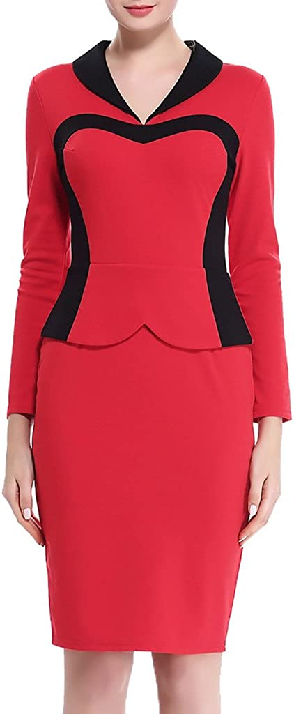 ZANLICE Women's Fold-Over V Neck Long Sleeve Zipper Pencil Dress for XS S M L XL