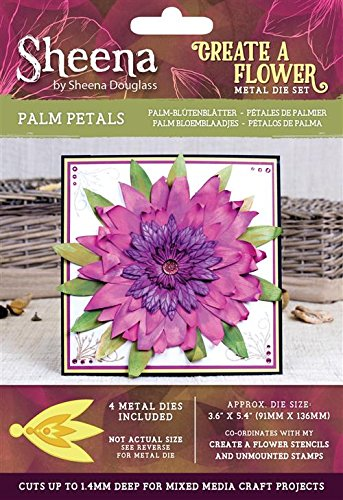 Sheena Douglass Maak een Bloem Die-Palm Bloemblaadjes, Metaal, Zilver, 19,36 x 12,4 x 0,05 cm