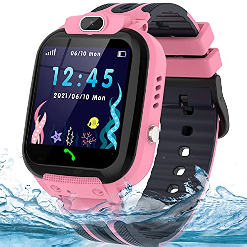 Kids Smart Watch for Boys Girls, IP67 Waterproof GPS Tracker Smartwatch for Kids with Calls SOS Voice Chat Camera Function, HD Touch Screen Cell Phone Watch for Kids Age 3-14 (Pink)