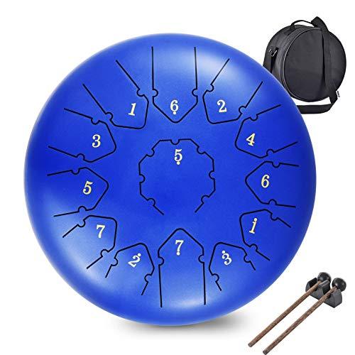 Tambor Handpan Drum,WZTO 13 Notas 12 Pulgadas Tambor de Lengüetas Tongue de lengüeta de Acero Tambores de hendidura para Percusión Mazos de Tambor...