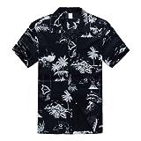 Hombres Aloha camisa hawaiana en Puesta del sol y Paisaje Azul Marino 5XL
