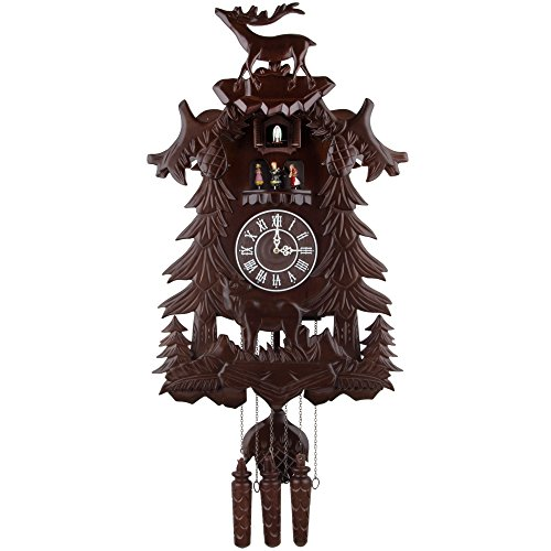 Kendal Vivid Large Deer Handcrafted Wood Cuckoo Clock with 4 Dancers Dancing with Music