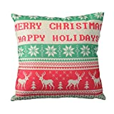 CANMOV 16'x16' Christmas Pillow, Merry Christmas Happy New Year and Winter Deer Decorations Cotton Linen Couch Pillow Square Cushion for Sofa, Couch, Bed and Car, Snowflake Deer