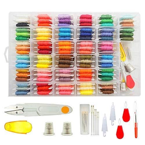 WeeDee Stickgarn 100 Farben mit Aufbewahrungsbox Embroidery Floss Weicher Baumwolle mit Sticknadel Werkzeugsatz Perfekt für Freundschaftsbänder, Stickerei, Kreuzstich