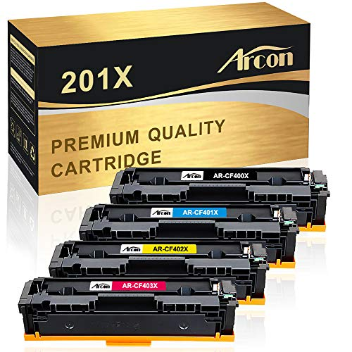 Arcon Compatible Toner Cartridge Replacement for HP 201X CF400X CF401X CF402X CF403X 201A CF400A HP Color Laserjet Pro MFP M277dw HP M252dw M277n M277c6 M252n M277 Toner (Black, Cyan, Magenta, Yellow)